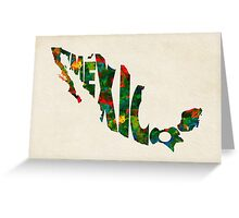 Mexico Typographic Watercolor Map Greeting Card
