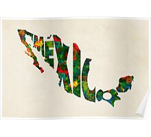 Mexico Typographic Watercolor Map Poster