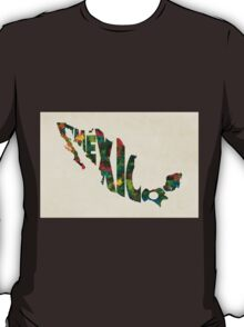 Mexico Typographic Watercolor Map T-Shirt