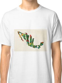 Mexico Typographic Watercolor Map Classic T-Shirt