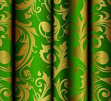 Green Curtain Call; Abstract Digital Vector Art by Mynameisparrish