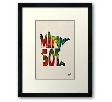 Minnesota Typographic Watercolor Map Framed Print