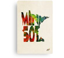 Minnesota Typographic Watercolor Map Metal Print