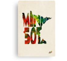 Minnesota Typographic Watercolor Map Canvas Print