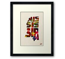 Mississippi Typographic Watercolor Map Framed Print
