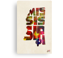 Mississippi Typographic Watercolor Map Metal Print