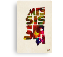 Mississippi Typographic Watercolor Map Canvas Print