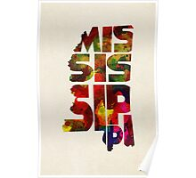 Mississippi Typographic Watercolor Map Poster