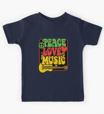 Rasta Peace, Love, Music Kids Tee
