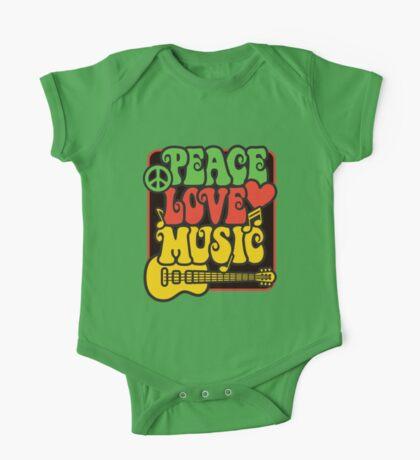 Rasta Peace, Love, Music One Piece - Short Sleeve