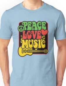 Rasta Peace, Love, Music Unisex T-Shirt