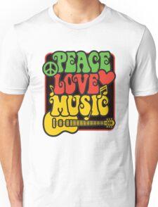 Rasta Peace, Love, Music Unisex T-Shirt