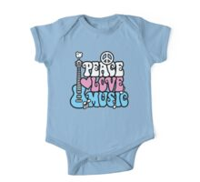 Peace, Love, Music One Piece - Short Sleeve
