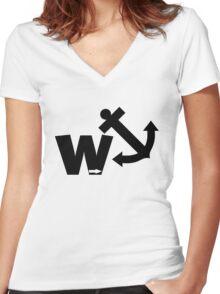 Funny wanker Women's Fitted V-Neck T-Shirt