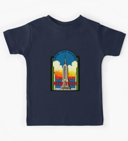 Empire State Building New York City Vintage Travel Decal Kids Tee