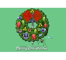 Zelda Christmas Card: Zelda themed Wreath Photographic Print