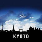 Kyoto Japan Skyline Cityscape Nightfall by T-ShirtsGifts