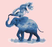 Blue Smoky Clouded Elephant One Piece - Short Sleeve