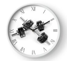 Crossed two heavy hand barbells weights Clock
