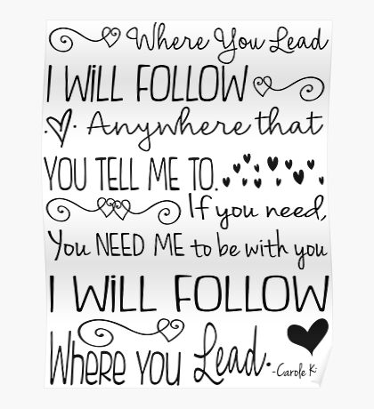Where You Lead, I will Follow, Gilmore Girls Quote Poster