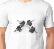 Chrome black hand barbells weights Unisex T-Shirt