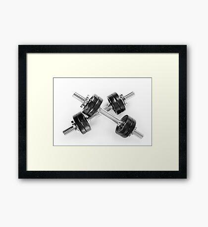 Chrome black hand barbells weights Framed Print