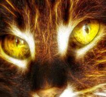 Kitty cat glowing eyes fractal artwork Sticker