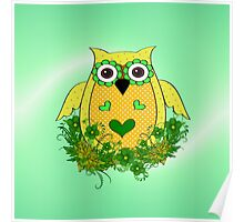 Pretty Green Owl Poster