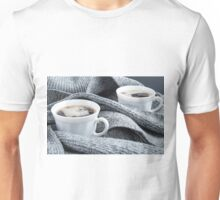 Two white cups of coffee close-up Unisex T-Shirt