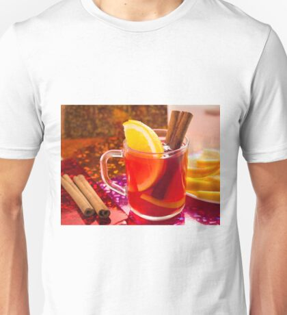 Transparent cup of tea with citrus, cinnamon and orange Unisex T-Shirt