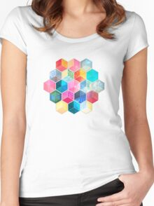Crystal Bohemian Honeycomb Cubes - colorful hexagon pattern Women's Fitted Scoop T-Shirt