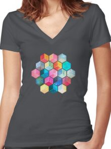 Crystal Bohemian Honeycomb Cubes - colorful hexagon pattern Women's Fitted V-Neck T-Shirt