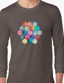 Crystal Bohemian Honeycomb Cubes - colorful hexagon pattern Long Sleeve T-Shirt