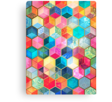 Crystal Bohemian Honeycomb Cubes - colorful hexagon pattern Canvas Print