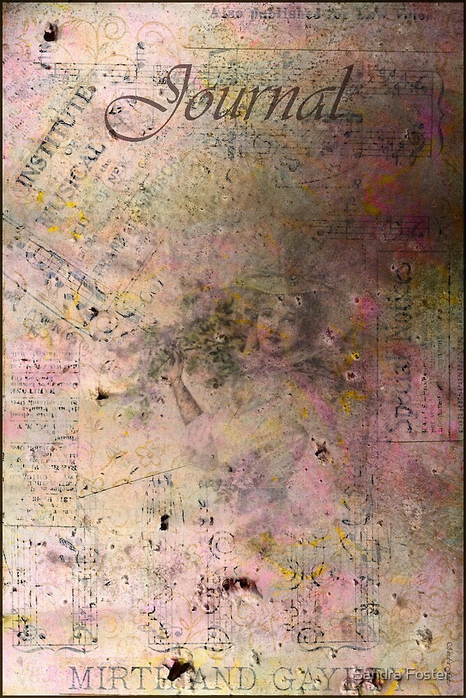 Lady In Lavender Journal Cover With Sheet Music Scraps by Sandra Foster