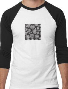 Black and white floral pattern Men's Baseball ¾ T-Shirt