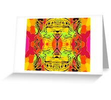 skull head with yellow green red and orange background Greeting Card