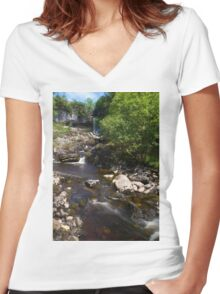 Waterfall in Beautiful Yorkshire Women's Fitted V-Neck T-Shirt