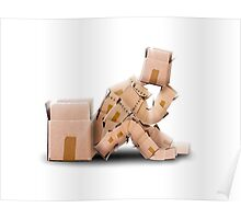 Think outside the box concept with boxman sitting Poster