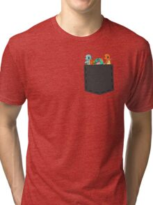 Pokemon - squirtle, bulbasaur and charmander in pocket Tri-blend T-Shirt