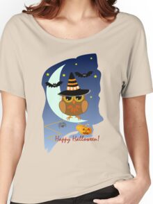 Cute Owl and Bats Happy Halloween text design Women's Relaxed Fit T-Shirt