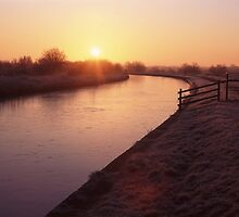 Frosty Sunrise over the Leeds Liverpool Canal by John Morris