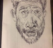 Self-portrait -(290914)- Black biro pen/A4 white paper by paulramnora