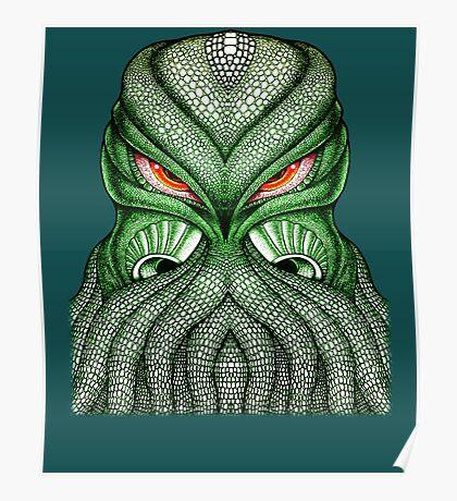 Cthulhu / Kraken Green Sea Monster Red Evil Bloodshot Eyes Poster