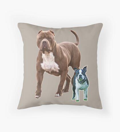 Pit bull Boston terrier Throw Pillow