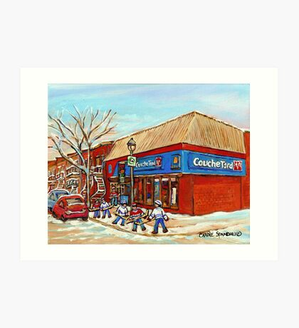 BEST SELLING DEPANNEUR PRINTS COUCHE TARD VERDUN MONTREAL WINTER HOCKEY PAINTING Art Print