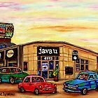 CAFE JAVA U CAR WASH AND DEPANNEUR MONTREAL SCENES by Carole  Spandau