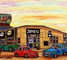 CAFE JAVA U CAR WASH AND DEPANNEUR MONTREAL SCENES by Carole  Spandau
