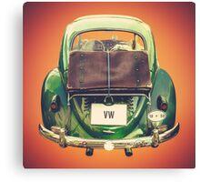 Vintage Volkswagen Beetle With Suitcase Canvas Print