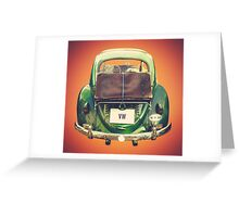 Vintage Volkswagen Beetle With Suitcase Greeting Card